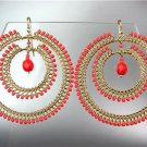CHIC Red Coral Peruvian Crystal Beads Gold Plated Wire Chandelier Earrings GB78