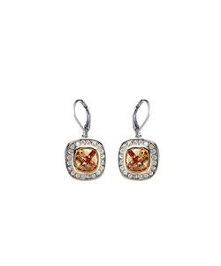 CLASSIC 18kt White Gold EP Brown Topaz CZ Crystal Petite Dangle Earrings
