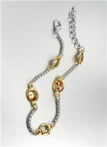 GORGEOUS Designer Style Silver Box Chain Cable Brown Topaz CZ Crystals Bracelet