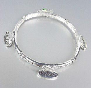 INSPIRATIONAL Thin Cross BELIEVE Praying Hand Charms Stackable Stretch Bracelet