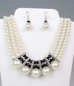 ELEGANT Dressy Creme Pearls Black Crystals Bridal Drape Necklace Earrings Set