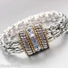 Designer Silver Cables Gold Light Blue Crystals Magnetic Mesh Chain Bracelet