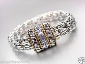 Designer Silver Cables Gold Light Blue Crystals Magnetic Mesh Chain Bracelet