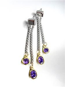 GORGEOUS Silver Box Cable Chain Gold Purple Amethyst Crystals Dangle Earrings