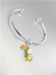 ADORABLE Green Multi Lacquer Enamel Baby Shoe Flowers Charm Silver Cuff Bracelet