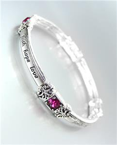 INSPIRATIONAL Silver FAITH HOPE LOVE Pink Crystals Stretch Stackable Bracelet