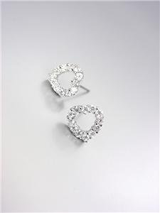SHIMMERY 18kt White Gold Plated CZ Crystals Dainty PETITE Heart Post Earrings