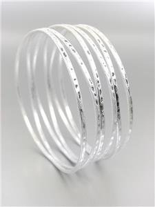 CHIC UNIQUE Urban Anthropologie Burnished Mat Silver Ribbed Wire Bangle Bracelet