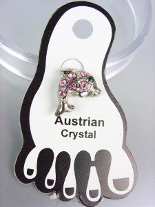 ADORABLE Pink Austrian Crystal DOLPHIN Invisible PETITE Toe Ring