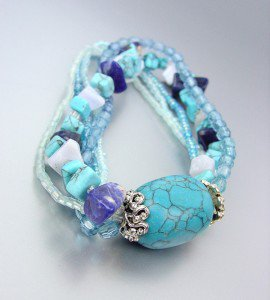 FABULOUS Natural Blue Turquoise Stone Beads Seed Beads Stretch Bracelet