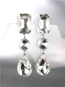 GLITZY SHIMMER Clear Czech Crystals LONG Bridal Queen Pageant Prom Earrings