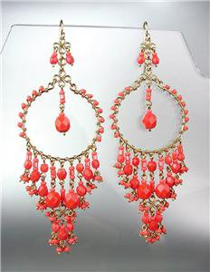 STUNNING Coral Red Crystal Beads Gold Chandelier Dangle Peruvian Earrings B20-2