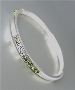 NEW Brighton Bay Silver Filigree Olive Green CZ Crystals Stretch Bracelet #39