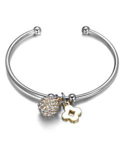 Designer Style Pave CZ Crystals Eternity Ball Clover Charms Silver Cuff Bracelet