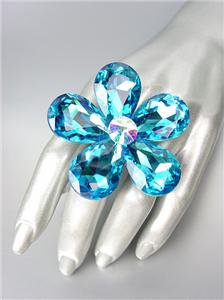STUNNING Chunky Teal Blue Czech Crystals Floral DIVA Queen Cocktail Ring