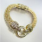 CLASSIC Brighton Bay Gold Ring Filigree Mesh Straps Magnetic Clasp Bracelet