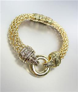 CLASSIC Brighton Bay Gold Ring Filigree Mesh Straps Magnetic Clasp Bracelet