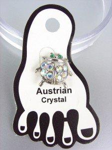 ADORABLE Iridescent Austrian Crystal LADYBUG Lady Bug Invisible PETITE Toe Ring