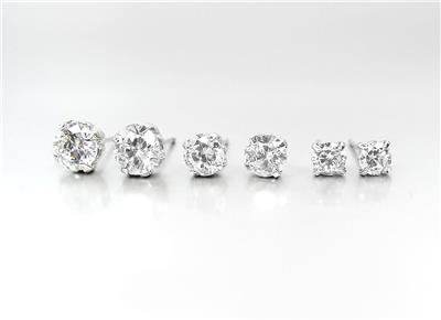 SPARKLE 3 PAIRS .25ct .75ct 1.50ct CZ Crystals Solitaire Stud Earrings