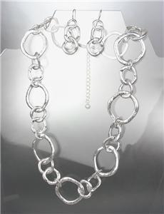 CLASSIC Mat Satin Brushed Silver Organic Metal Rings Necklace Earrings Set