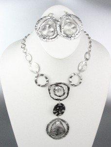 UNIQUE Sculpted Silver Satin Metal Disk Rings CZ Crystals Drape Necklace Set
