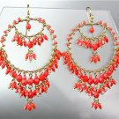 STUNNING Coral Red Crystal Beads Gold Chandelier Dangle Peruvian Earrings B35-2