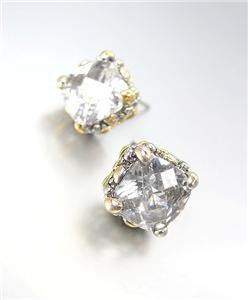 Designer PETITE Silver Gold Balinese Filigree Clear Quartz CZ Crystal Earrings