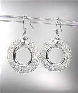 SHIMMERY 18kt White Gold Plated Wire Mesh Ring CZ Crystals Dangle Earrings