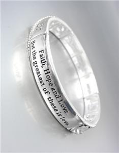 NEW Brighton Bay FAITH HOPE LOVE Silver Filigree CZ Crystals Stretch Bracelet