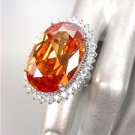 STUNNING Chunky Champagne Brown Topaz CZ Crystal CZ Crystals Oval Cocktail Ring