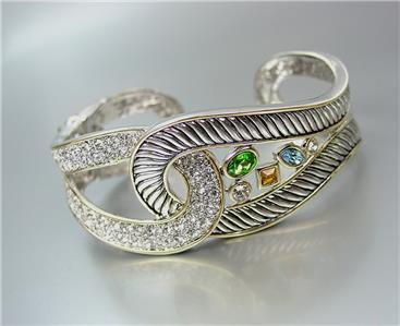 CLASSIC Designer Silver Cable Pave Multi-color CZ Crystals LOOP Cuff Bracelet