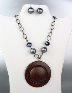 NATURAL Brown Wood Patina Medallion Marble Beads Hematite Crystals Necklace Set