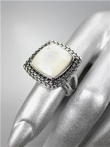 CLASSIC Brighton Bay Silver Balinese Weave Filigree Mother Pearl Square Ring