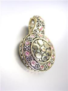 GORGEOUS Designer Style BALINESE Silver Gold Dots Pink Rose CZ Crystals Pendant