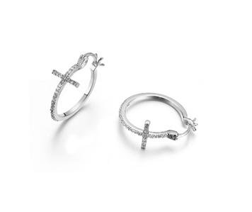 SHIMMER Thin 18kt White Gold Plated CZ Crystals CROSS Petite Hoop Earrings