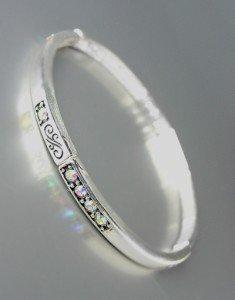 NEW Brighton Bay Silver Filigree Iridescent AB CZ Crystals Stretch Bracelet #39