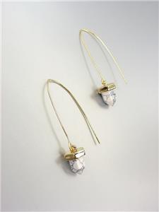 CHIC Gold White Marble Stone Acorn Drop Threader Dangle Earrings