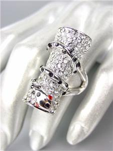 CHIC Rhianna Style 18kt White Gold Plated Pave Crystals SNAKE Statement Ring