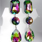 GLITZY Vitrail Medium Czech Crystals LONG Bridal Queen Pageant Prom CLIP Earring