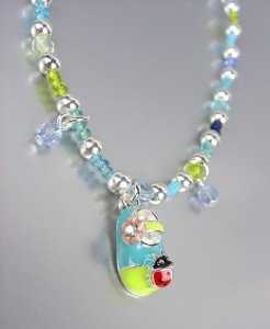 ADORABLE Blue Green Beads Ladybug Lady Bug Flower Shoe Charm Stretch Anklet