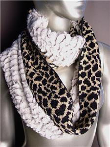WARM EXOTIC Brown Black Leopard Knit Faux Fur Chinchilla Infinity Eternity Scarf