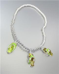 ADORABLE 3 Green Enamel Flip Flops Flipflop Charms Silver Beads Stretch Anklet