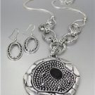 UNIQUE Antique Silver Dots Texture Marcasite Crystals Medallion Necklace Set