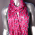 Silky Lightweight Plum Fuchsia Pink Blue Gray Polka Dots Crinkled Gauze Scarf