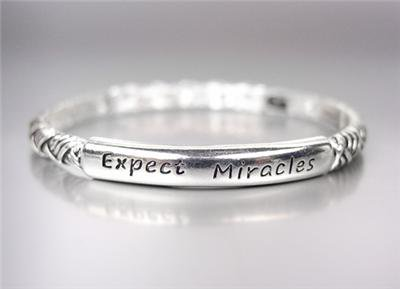 INSPIRATIONAL Silver Filigree Crystals EXPECT MIRACLES Stackable Bracelet