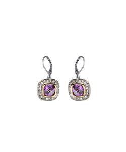 CLASSIC 18kt White Gold EP Purple Amethyst CZ Crystal Petite Dangle Earrings