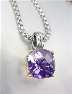 Designer Style Silver Gold BALINESE Purple Amethyst CZ Crystal Pendant Necklace