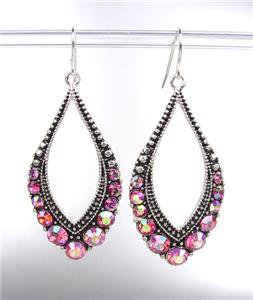 SPARKLE Antique Silver Metal CZ Rose Pink AB Crystals Tear Drop Dangle Earrings