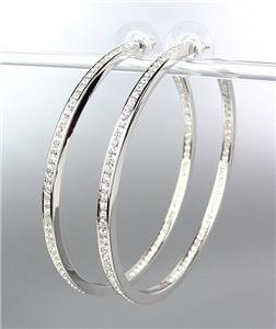 CLASSIC Thin 18kt White Gold Plated Inside Outside CZ Crystals Hoop Earrings LG