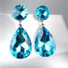 GLITZY SHIMMER Teal Blue Czech Crystals Bridal Queen Pageant Prom Earrings